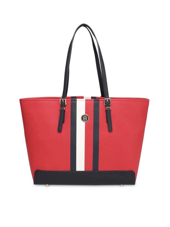 430238f7a4 Buy Tommy Hilfiger Red & Navy Blue Striped Oversized Shoulder Bag ...