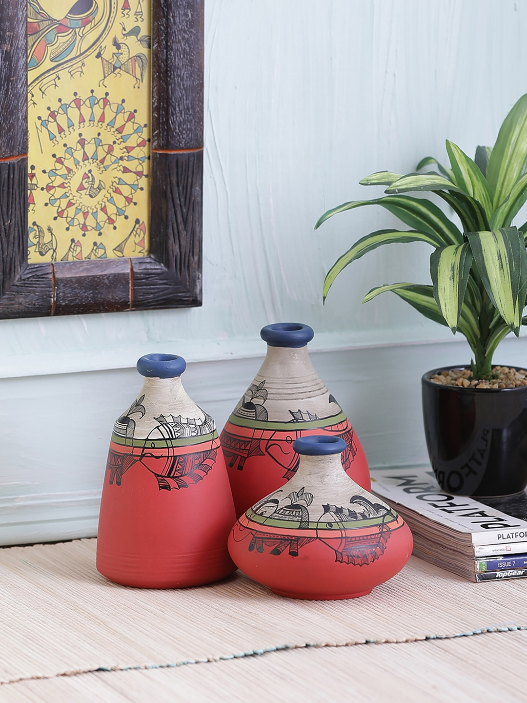 Vareesha Set Of 3 Carrot Red And Grey Terracotta Pots Three