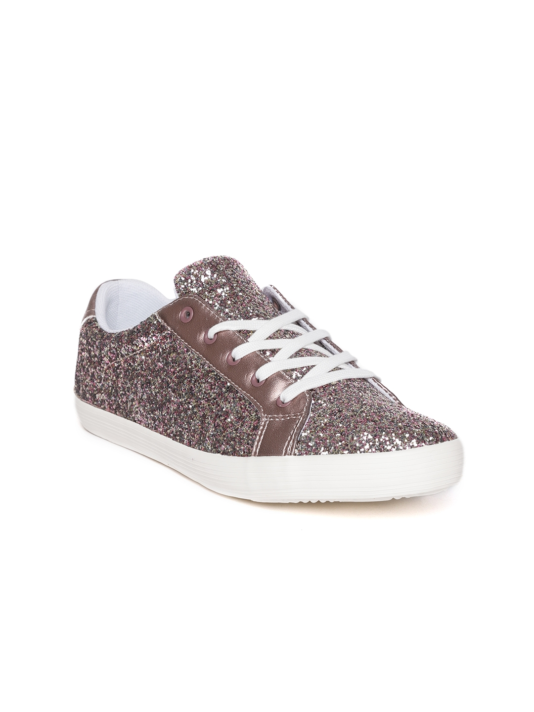 e6be54a44e5a Buy United Colors Of Benetton Girls Rose Gold Toned Glitter Sneakers ...