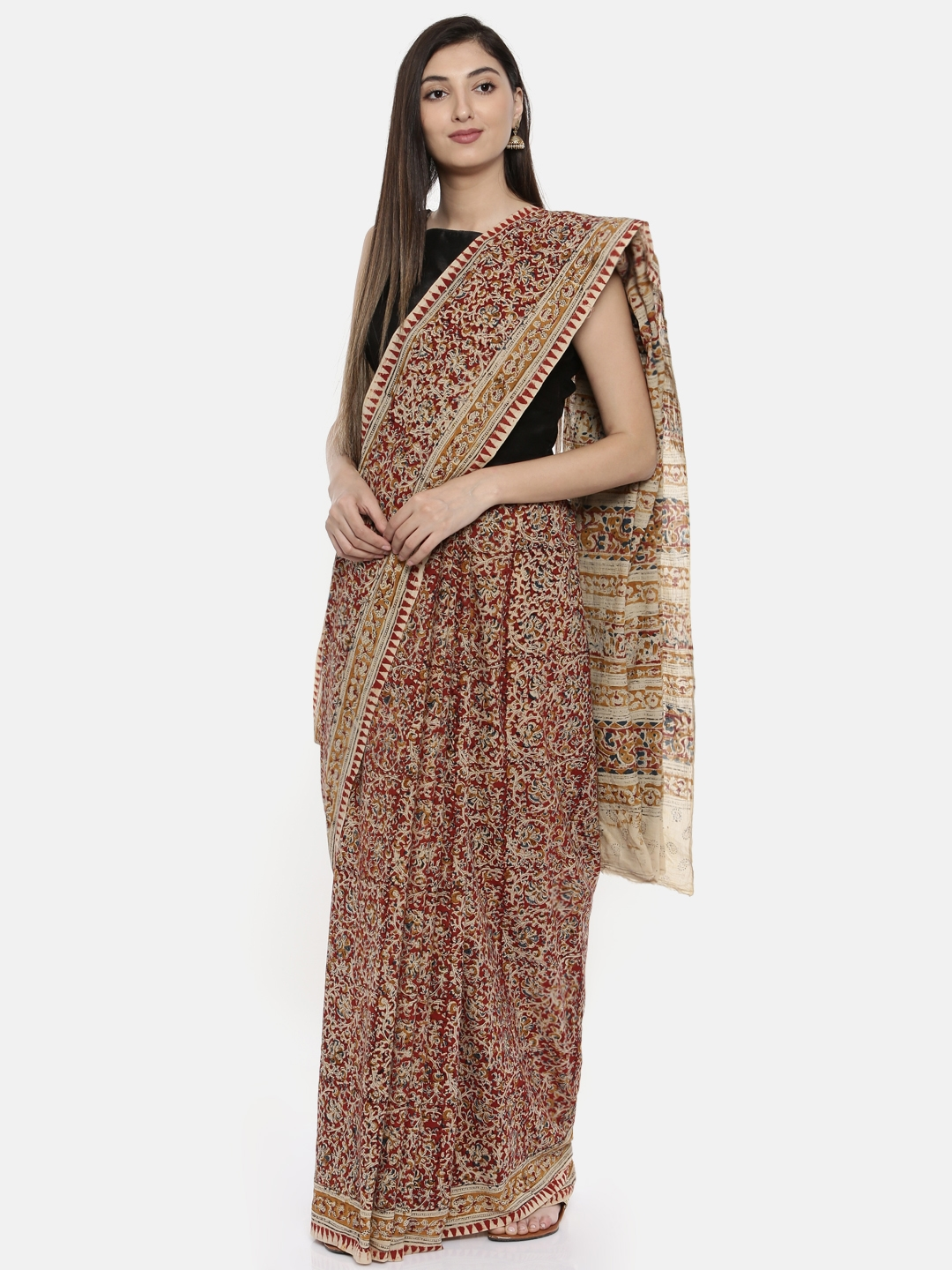 0d0bc33a66 Buy Gocoop Maroon & Beige Pure Cotton Printed Saree - Sarees for ...