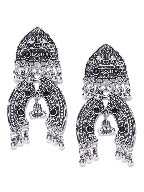 514dc0349 Infuzze Oxidised Silver-Toned & Black Textured Classic Drop Earrings