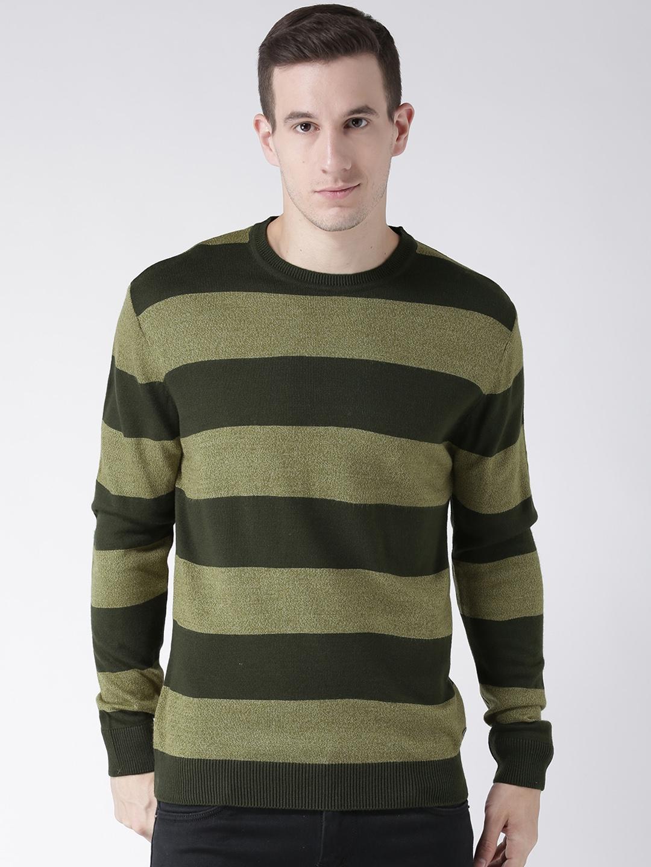Club York Men Green Striped Pullover