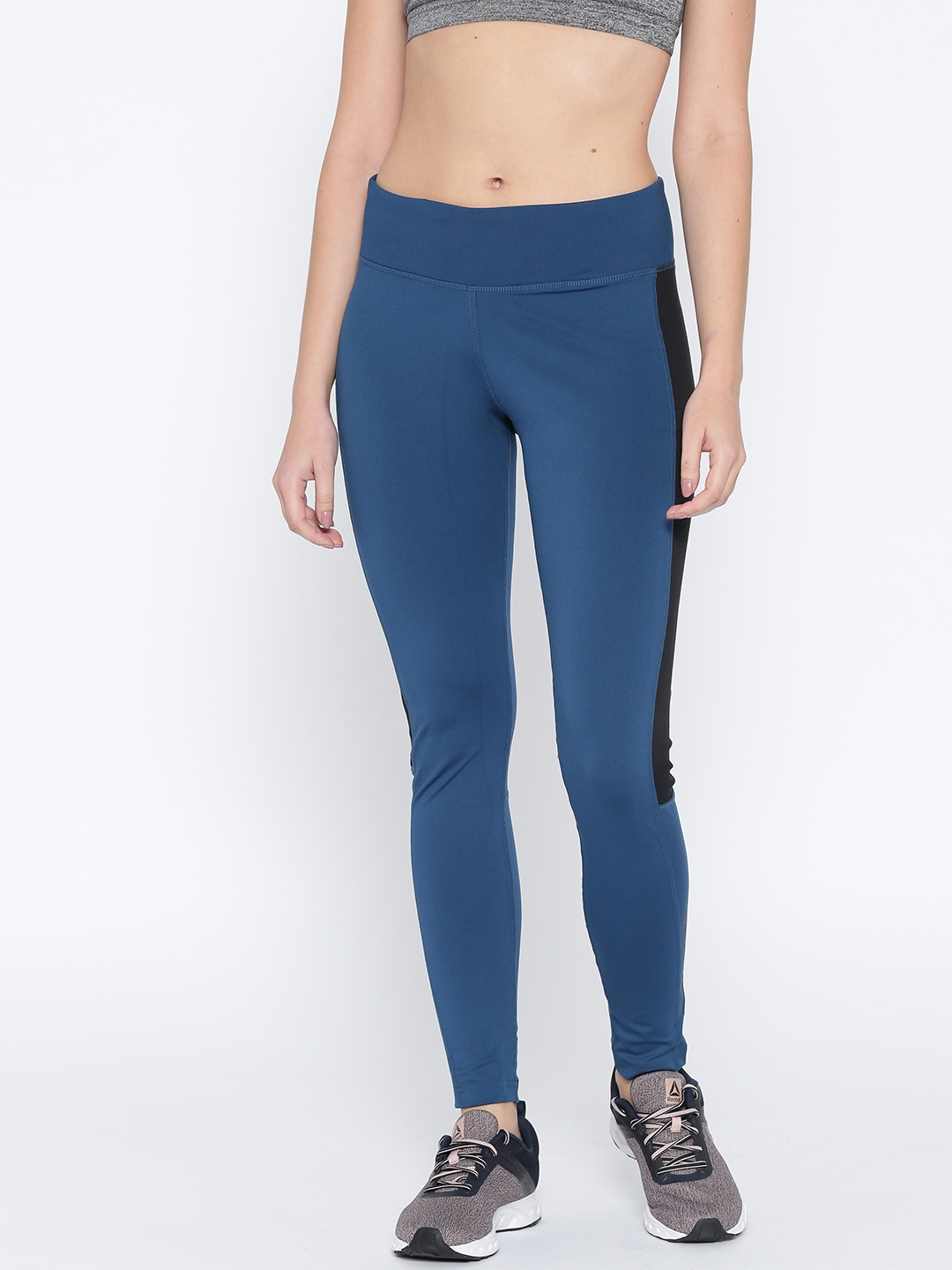 Reebok Women Teal Blue Workout Big Delta Training Tights