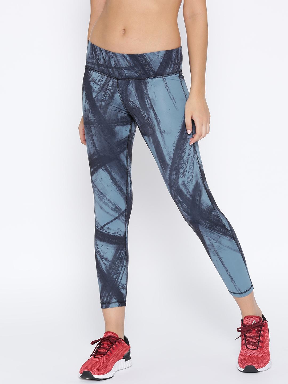 5fd59d2dc7d2 Buy Reebok Women Blue   Black Printed Yoga Lux Bold 7 8 Tights ...