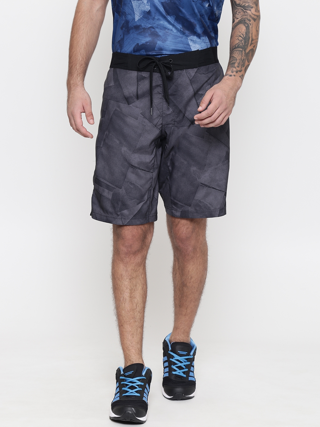 Reebok Men Grey Printed WOR GRAPHIC BOARD Training Sports Shorts