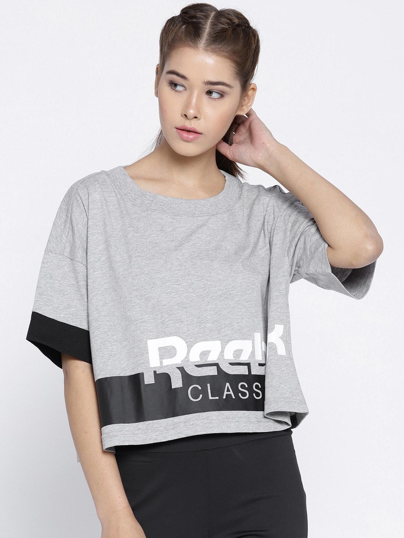 ff83d742950 Buy Reebok Classic Women Grey Melange Printed AC CROPPED T Shirt ...