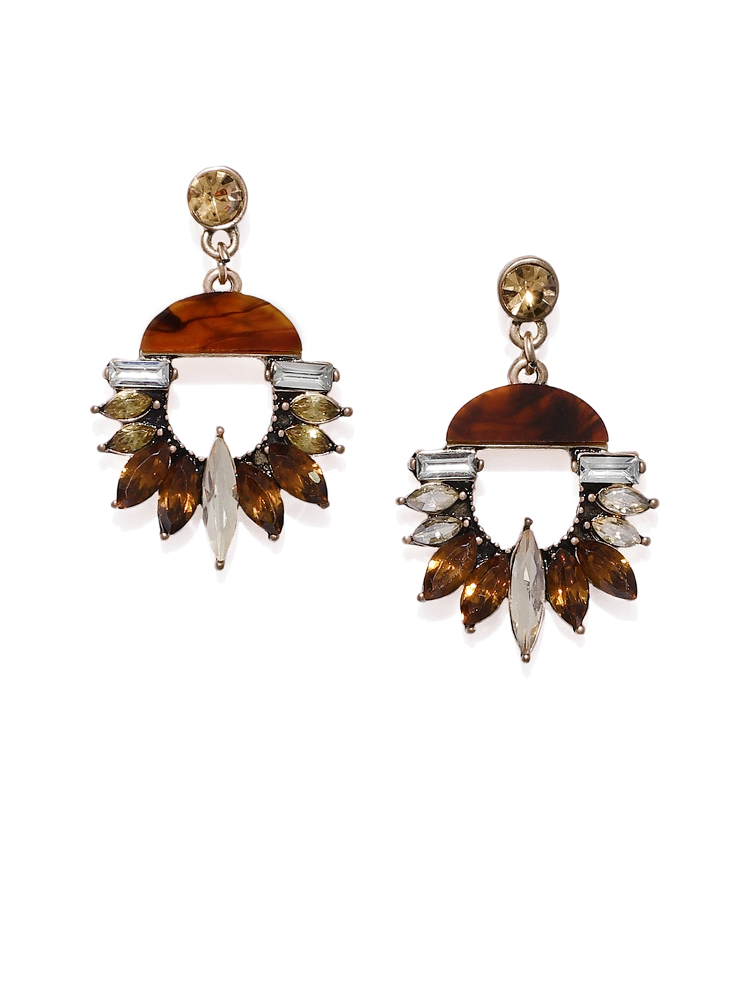 dadf2ffae Buy Tipsyfly Gold Plated & Brown Contemporary Drop Earrings ...