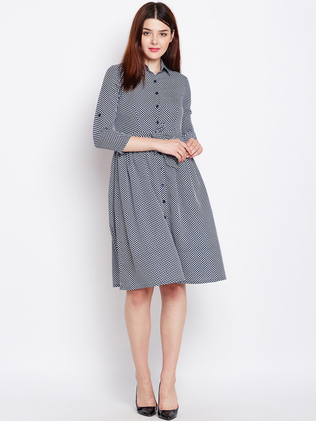 6ae4de194 Buy WISSTLER Women Navy Blue   White Checked Fit And Flare Dress ...