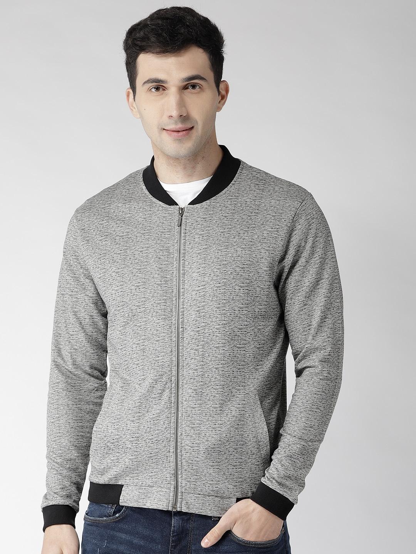Arrow New York Men Grey Melange Solid Sweatshirt