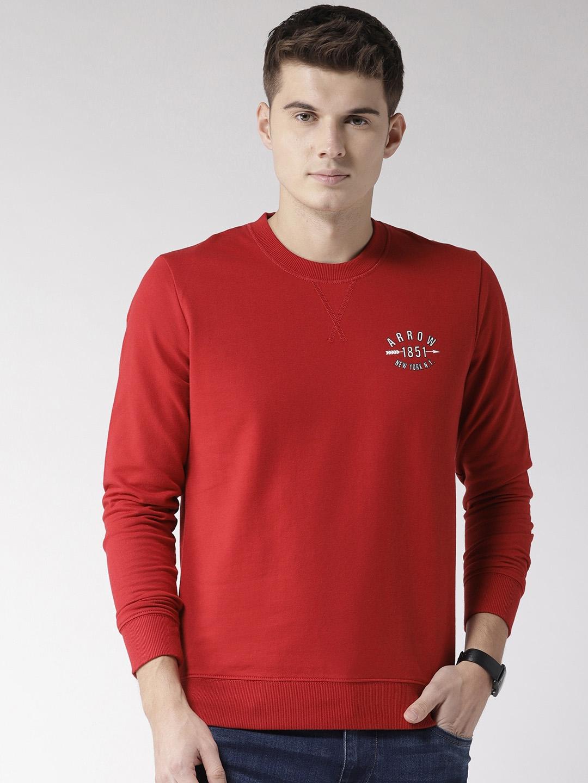 Arrow Sport Men Red Solid Sweatshirt