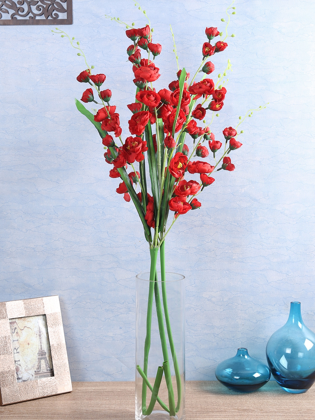 Buy Fourwalls Set Of 3 Red Artificial Lotus Flower Stems
