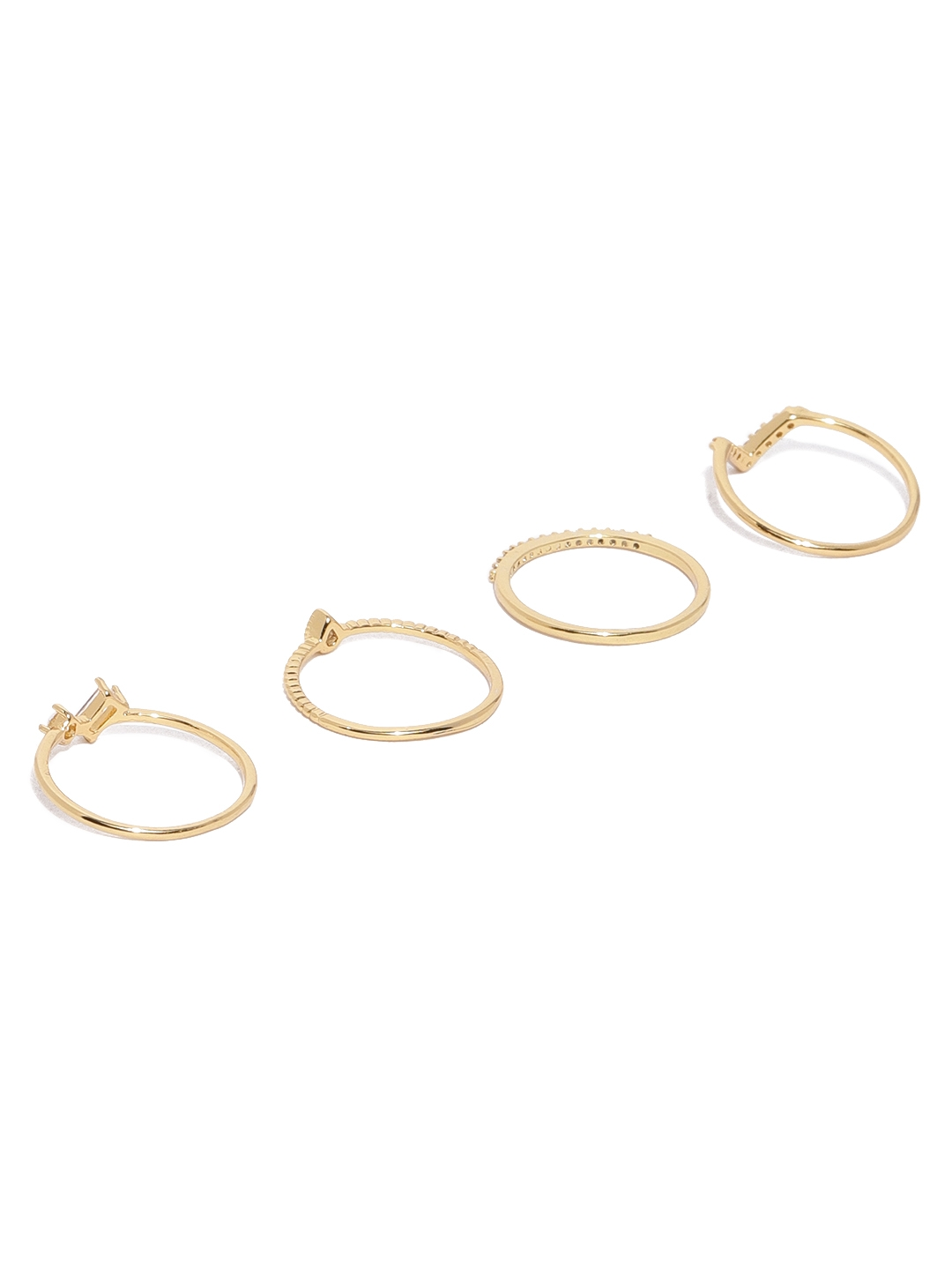 84a5cfd33 Buy Accessorize Women Set Of 4 Gold Plated CZ Studded Finger Rings ...