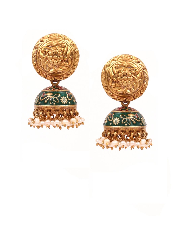 7bf49358347fb2 Buy SANGEETA BOOCHRA Gold Toned & Green Circular Jhumkas - Earrings ...