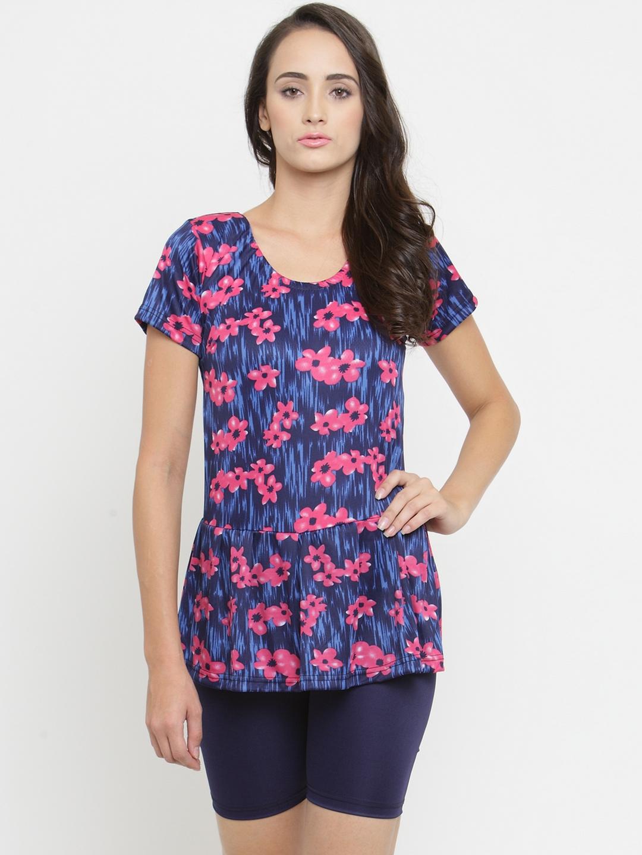 N Gal Women Blue   Pink Printed Swimsuit NBES08