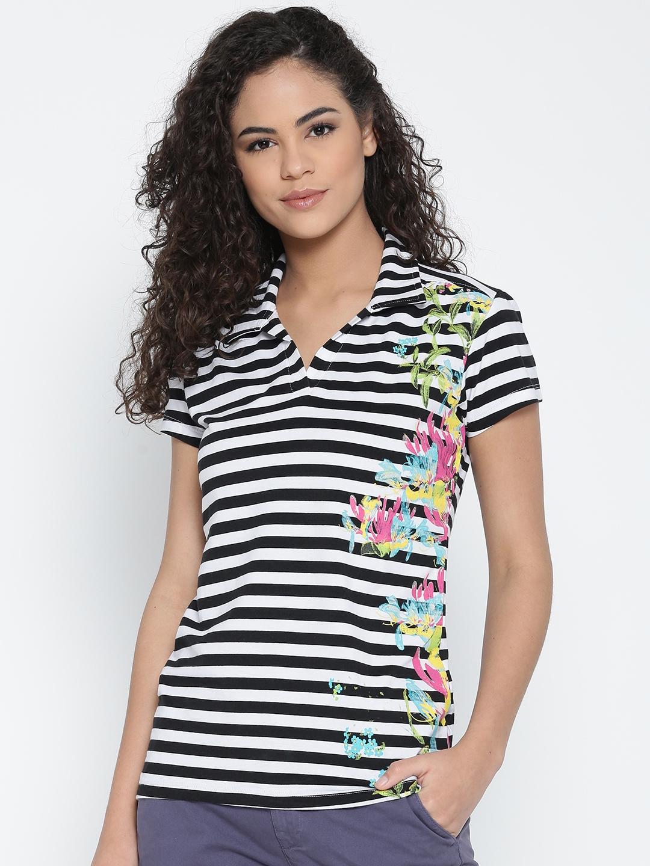 8d86b11252180 Buy flying machine women black white striped polo shirt jpg 1080x1440 Black  and white womens striped