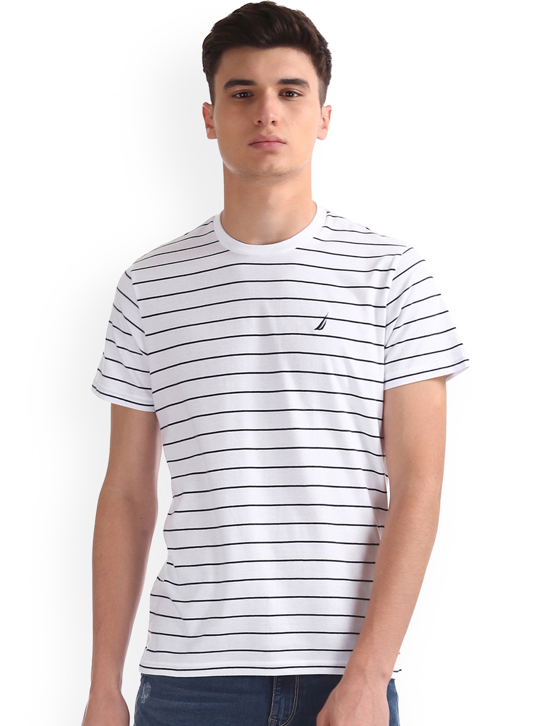193b37c326 Buy Nautica Men White Striped Round Neck T Shirt - Tshirts for Men ...