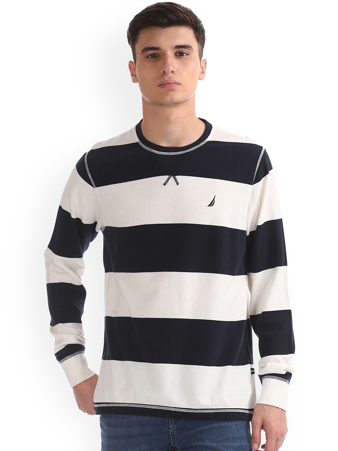 614cf39a14 Buy Nautica Men White & Navy Striped Round Neck T Shirt - Tshirts ...