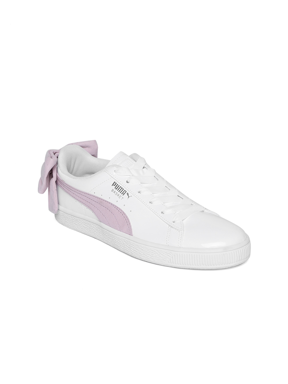 1acc763a58a Buy Puma Women White   Lavender Leather Basket Bow SB Sneakers ...