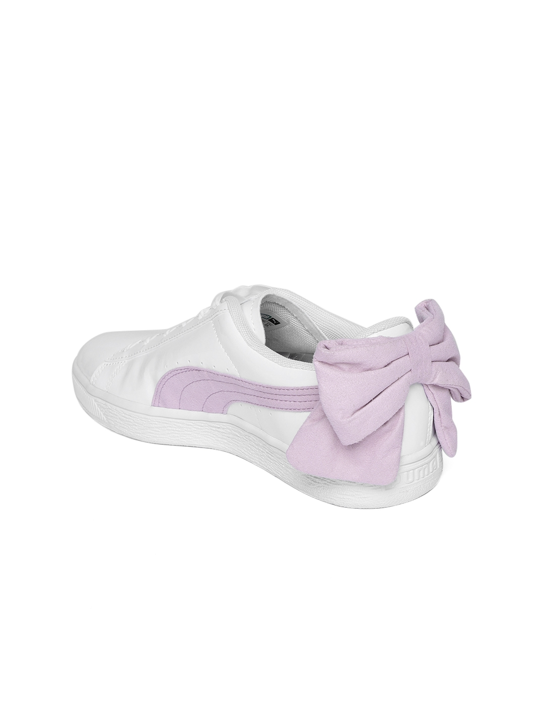 Buy Puma Women White   Lavender Leather Basket Bow SB Sneakers ... 510c4a37a