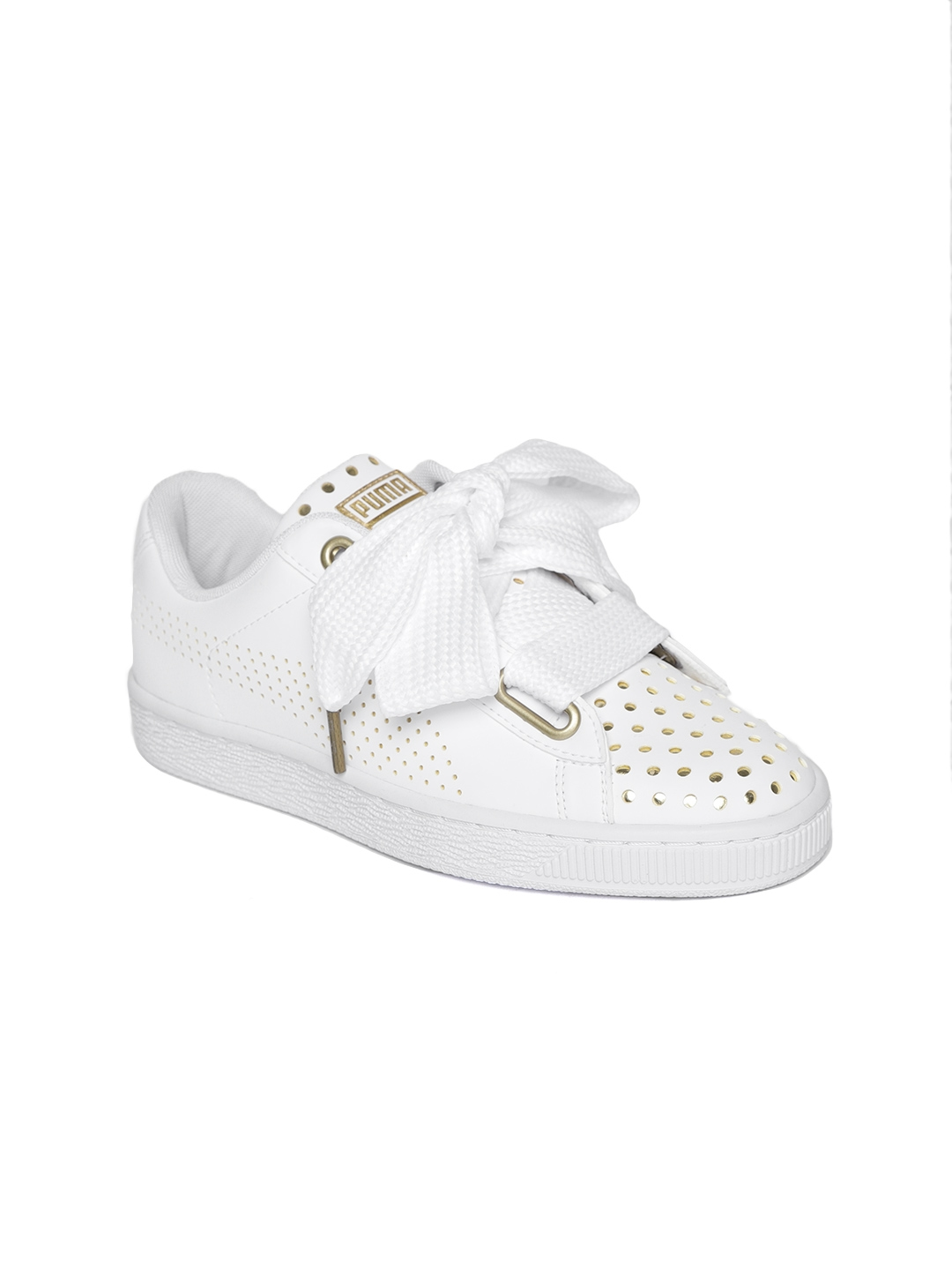 sale retailer 339a6 dc61e Puma Women White Basket Heart Ath Lux Leather Sneakers