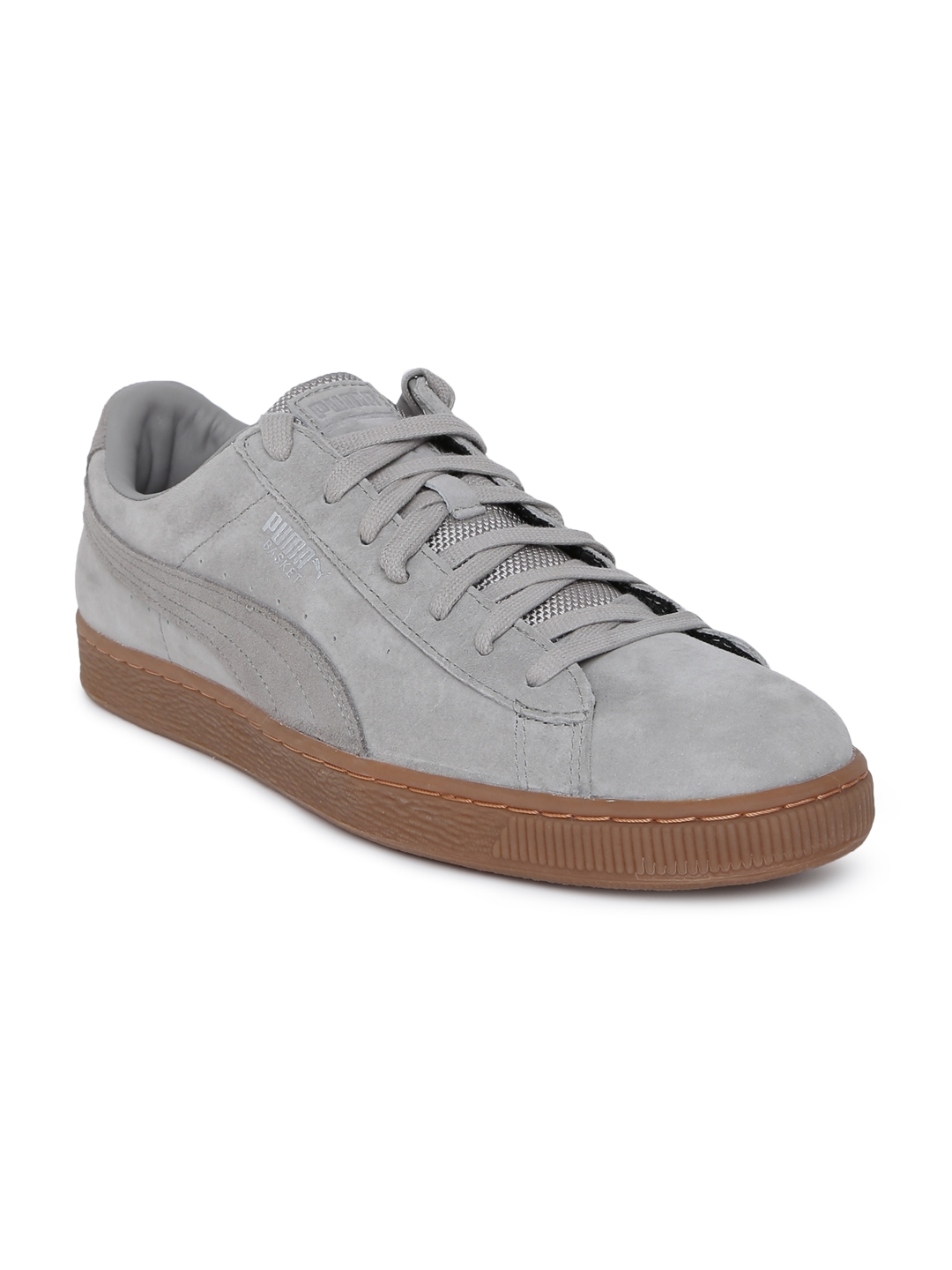 new product 6315f 80ad6 Puma Unisex Grey Basket Classic Weatherproof Leather Sneakers