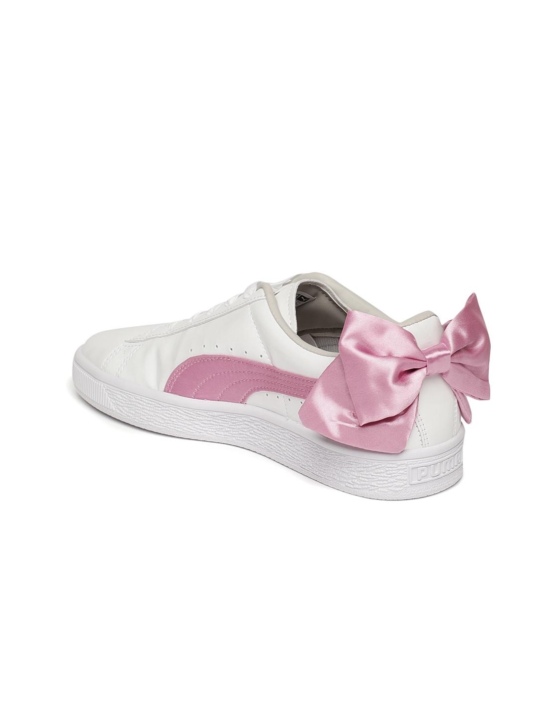 Buy Puma Girls White Basket Bow Patent Junior Sneakers - Casual ... cf2550390