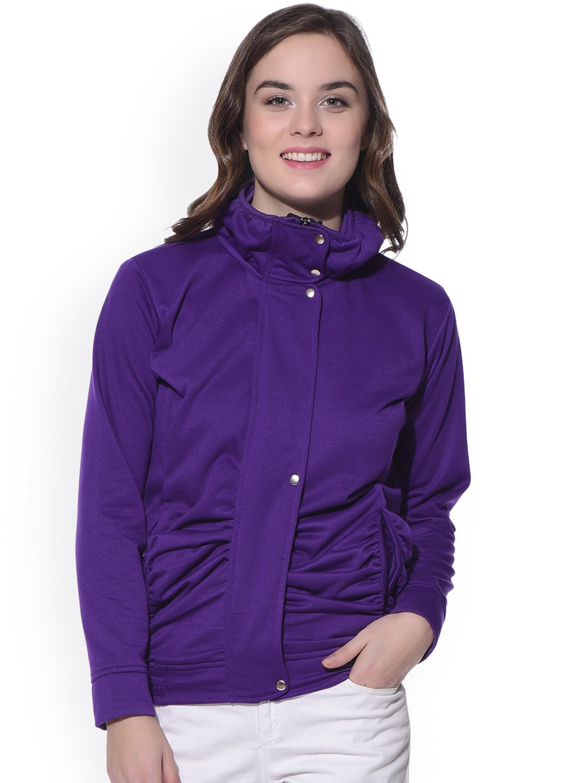 PURYS Women Purple Solid Bomber Jacket