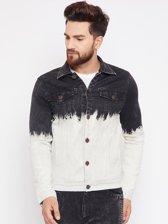 78e7d030 Buy FUGAZEE Men Off White & Black Solid Denim Jacket - Jackets for ...