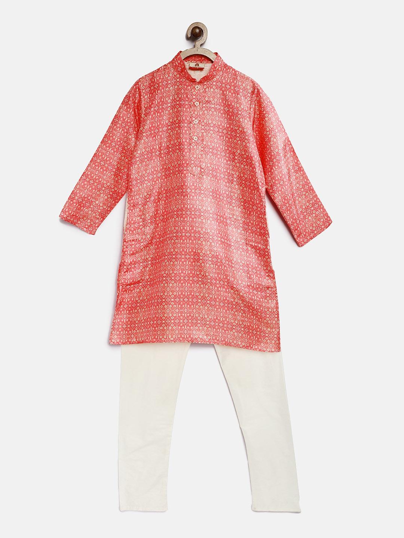 e5af58b4f Buy Silk India Boys Peach Coloured   White Printed Kurta With ...