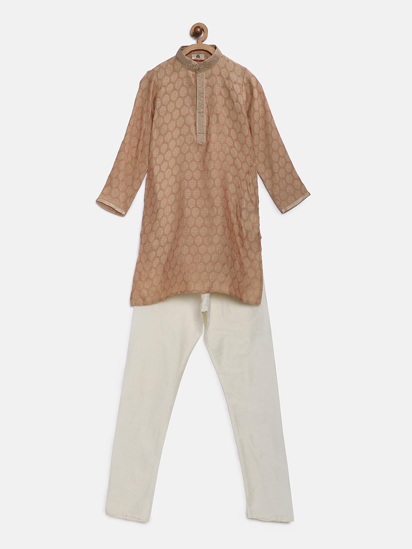 e05a613ca Buy Silk India Boys Peach Coloured   White Self Design Kurta With ...