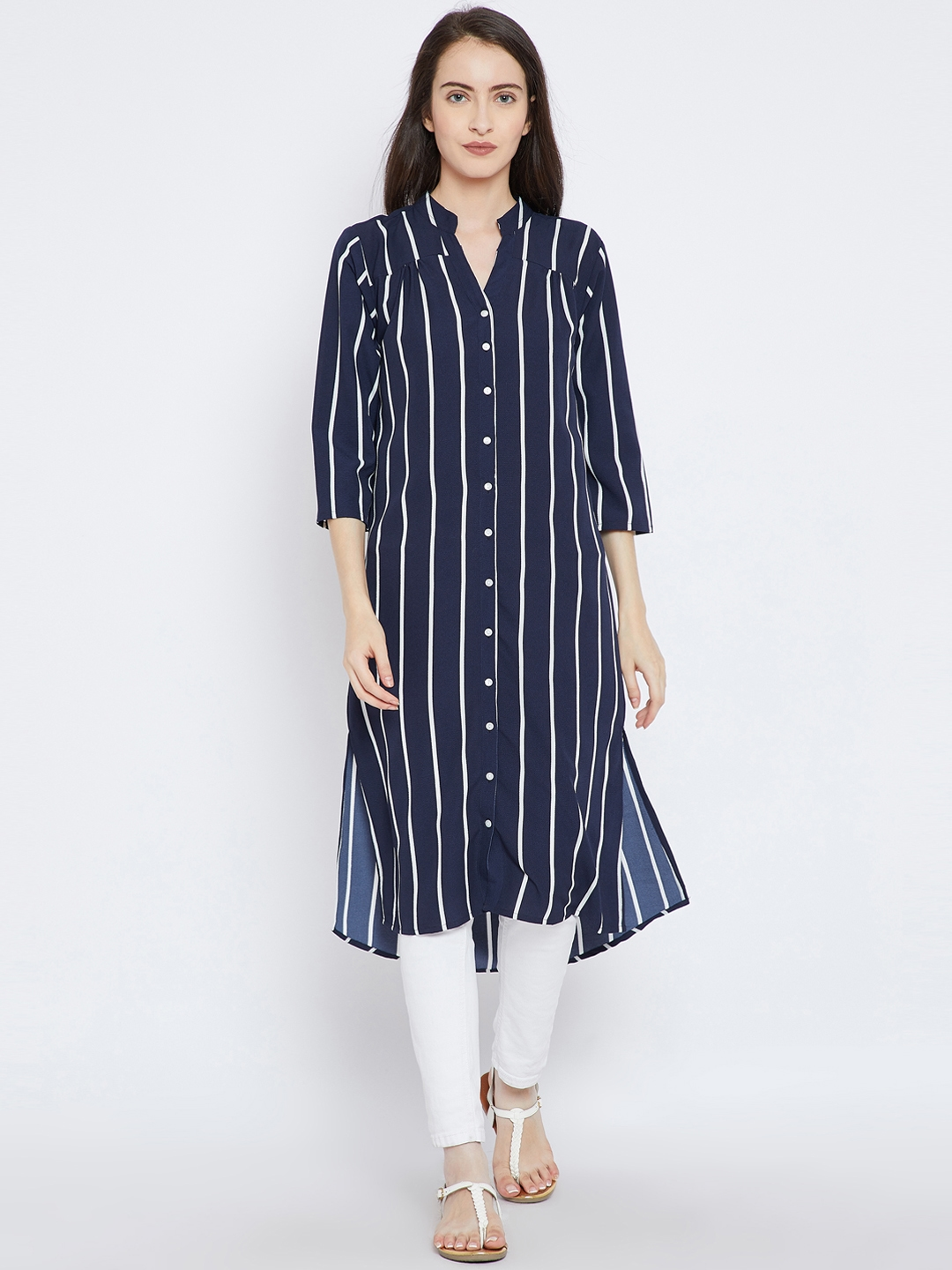 50f59369d6f Buy Ruhaans Navy Blue Striped Tunic - Tunics for Women 7255495   Myntra