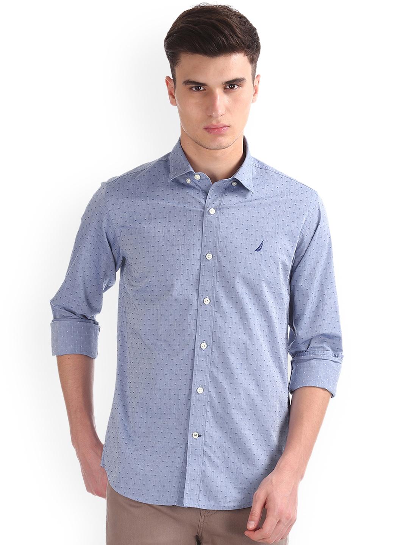 f127e520e Buy Nautica Men Blue Long Sleeve Dobby Shirt - Shirts for Men ...