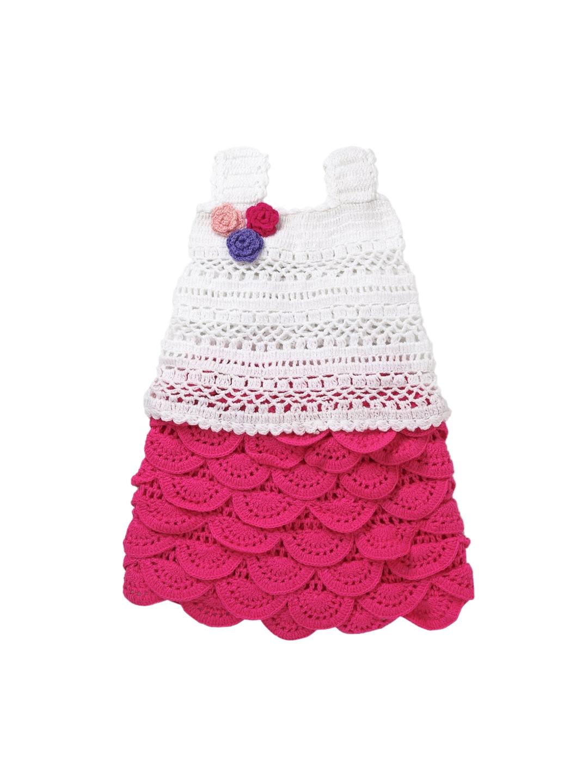 1749454ee9f6 Buy CHUTPUT Girls Pink   White Self Design A Line Wollen Dress ...