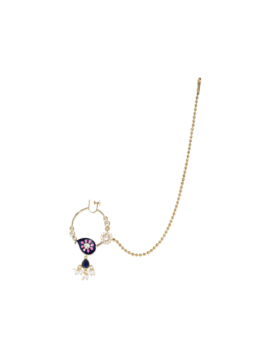 Buy Alamod Navy Blue Pink Gold Plated Meenakari Screw Back Nose