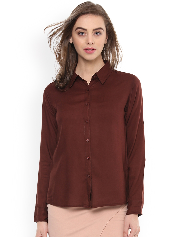 Mayra Women Brown Regular Fit Solid Casual Shirt