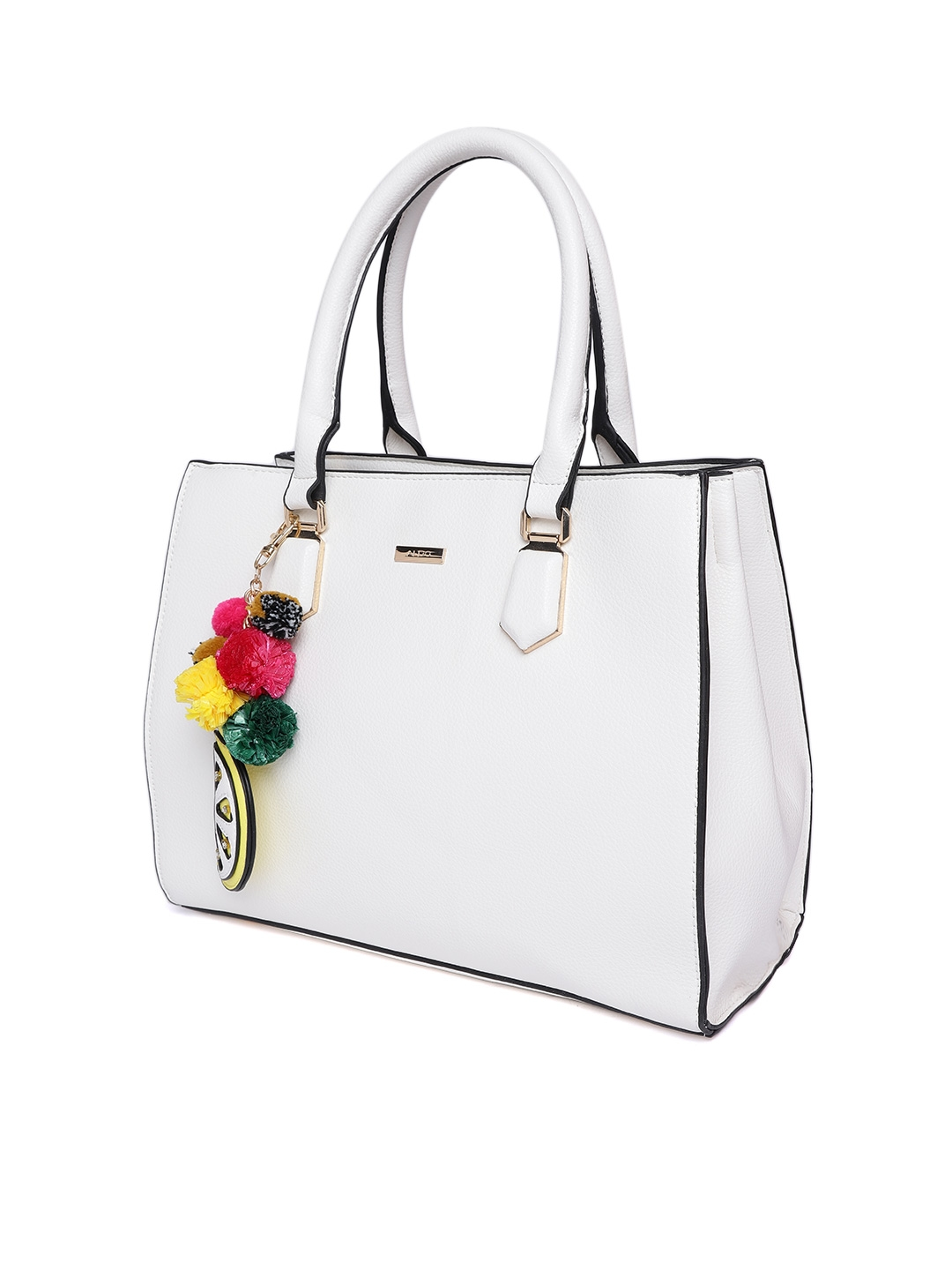 73a3f266e31 Buy ALDO White Solid Handheld Bag With Detachable Sling Strap ...