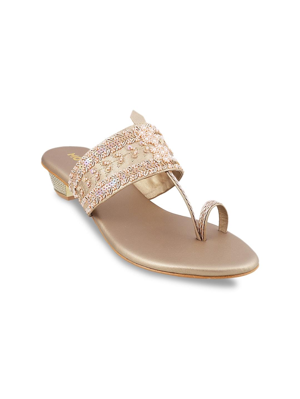 1fef76eca Buy Mochi Women Gold Toned Woven Design Sandals - Heels for Women ...