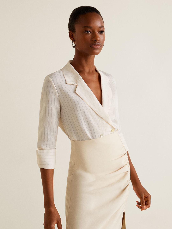 62dcb88194 Buy MANGO Women Off White Striped Blazer Style Top - Tops for Women ...