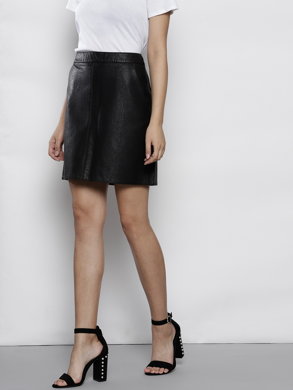 c9aaa53d2 Buy DOROTHY PERKINS Women Black Coated Solid Mini A Line Skirt ...