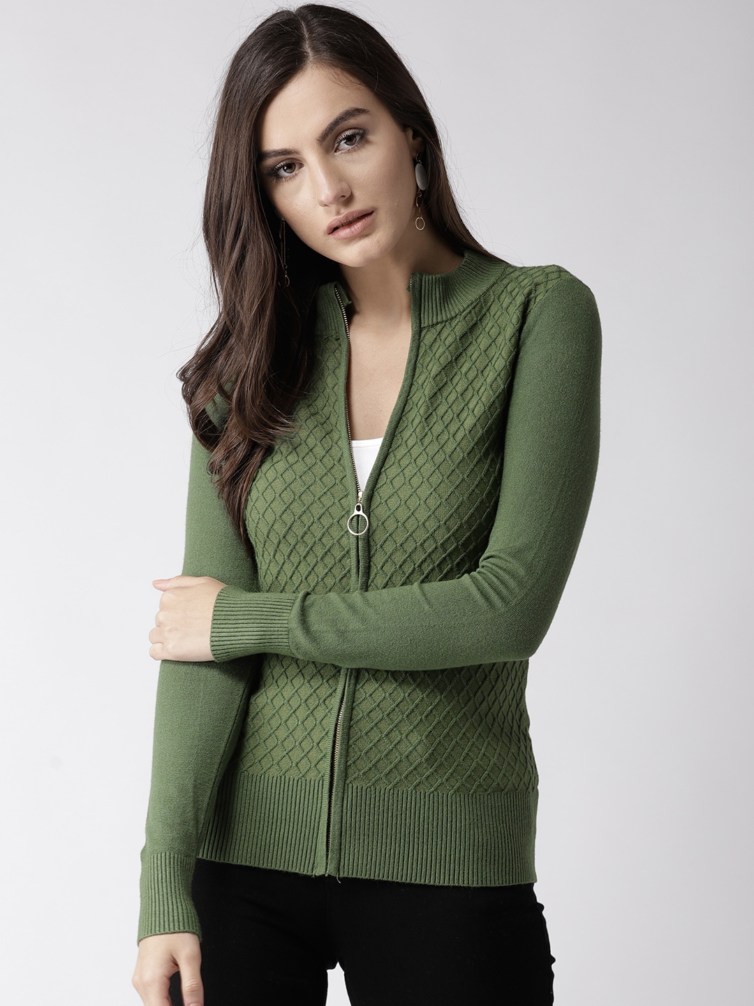649f5c183 Buy Fort Collins Women Olive Green Cable Knit Cardigan - Sweaters ...