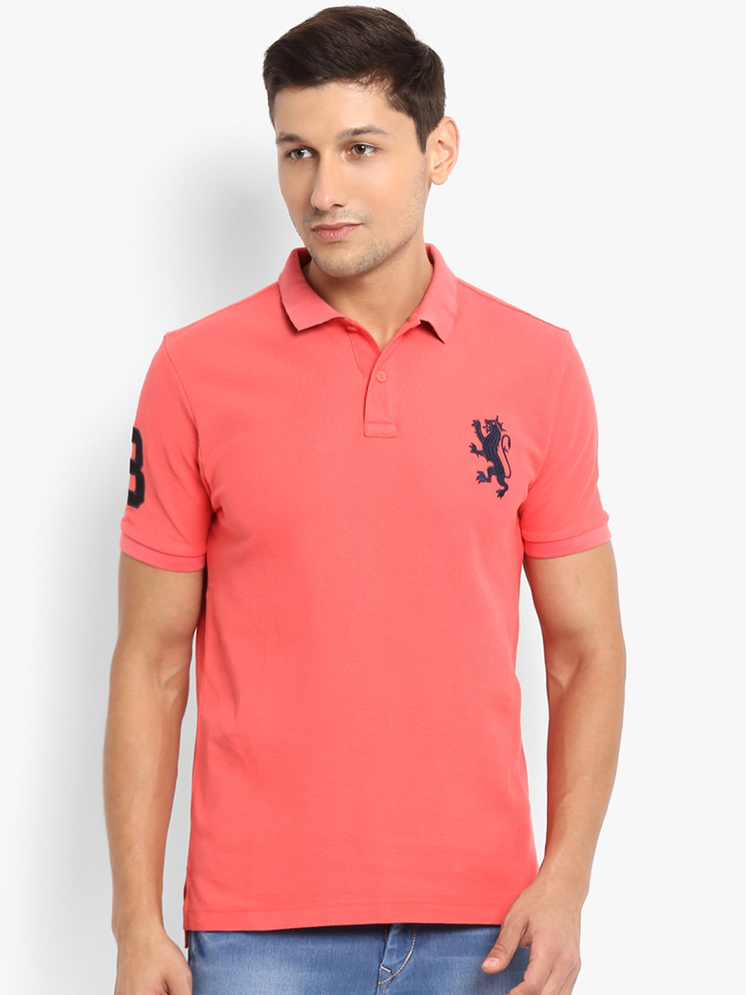 813d3c91fee Buy Red Tape Men Coral Solid Polo Collar T Shirt - Tshirts for Men ...