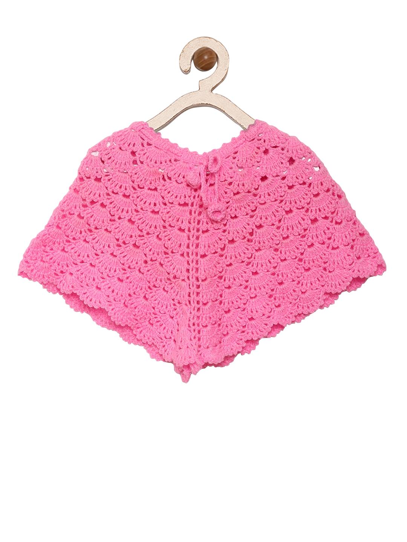 af5c03f41ef4 Buy CHUTPUT Girls Pink Self Design Poncho - Sweaters for Girls ...