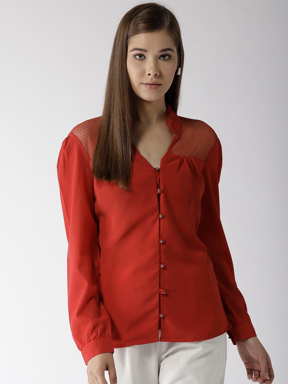 5c6d4f56977be8 Buy Harpa Women Rust Orange Solid Shirt Style Top - Tops for Women ...
