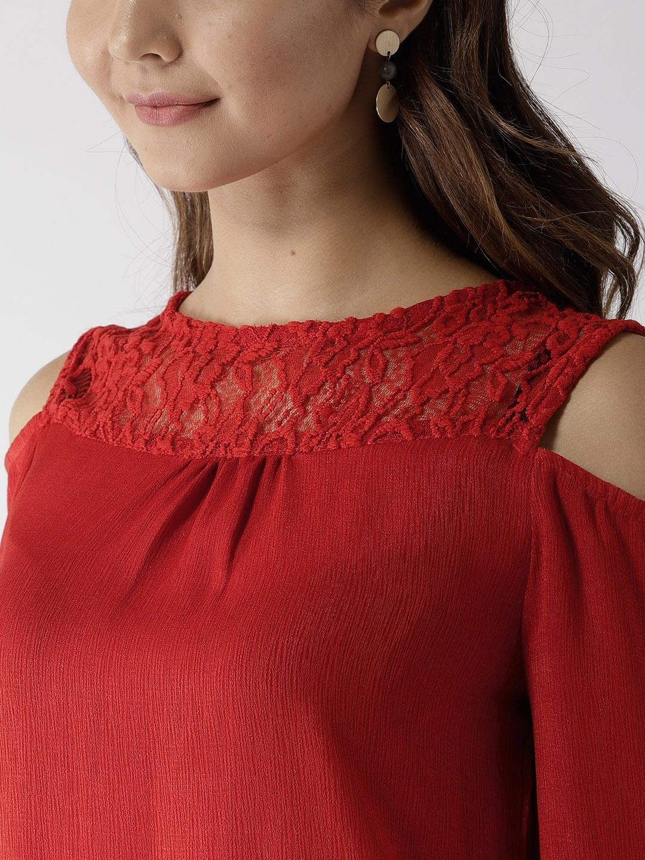 99d6df101be0b6 Buy Harpa Women Red Cold Shoulder Top - Tops for Women 7269259