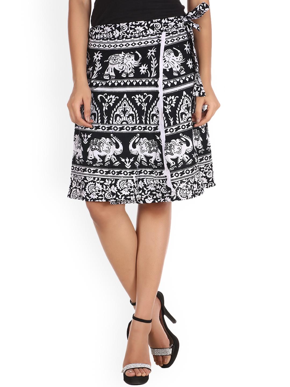 SOUNDARYA Women Black   White Printed Wrap Skirt