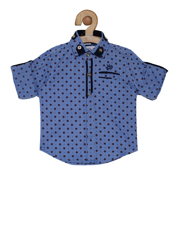 9a96065fa336 Buy OKS Mini Boys Blue Regular Fit Printed Casual Shirt - Shirts for ...