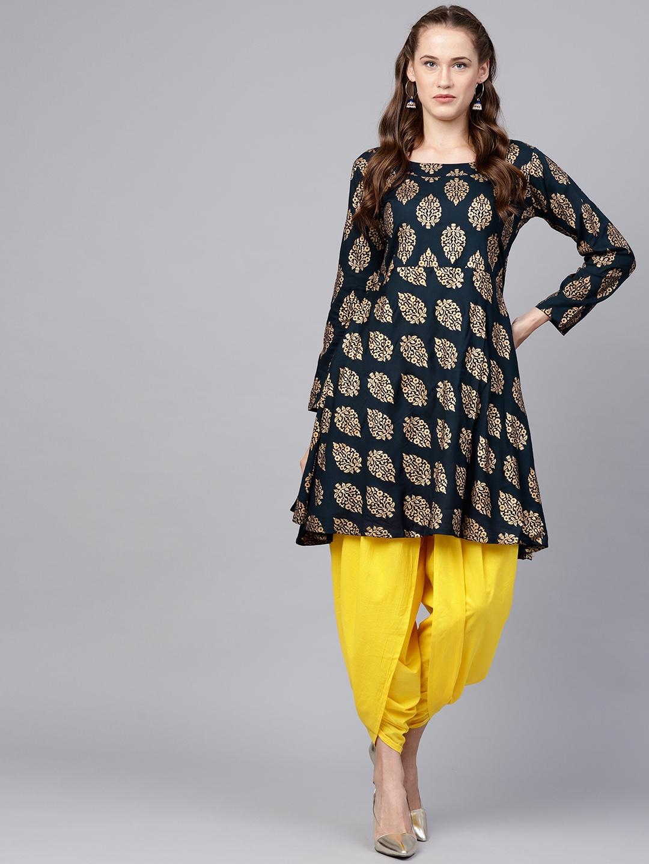 89e5fe21ba Nayo Women Navy Blue & Yellow Printed Kurta with Dhoti Pants