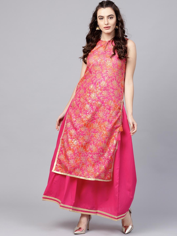 5064546dd3f Buy Nayo Women Pink Printed Kurta With Skirt - Kurta Sets for Women ...