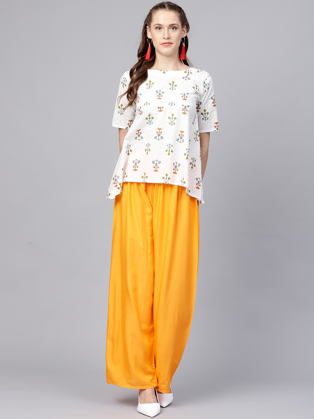Buy Nayo Women White   Yellow Printed Top With Palazzos - Clothing ... e8b5f4057