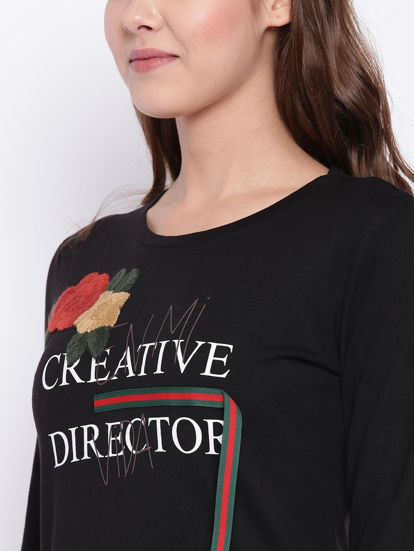eb104e898 Buy Madame Women Black Printed T Shirt - Tshirts for Women 7272533 ...